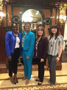 Pictured from left to right: Fallon Ager-Nelson (Women's Network Recorder), Assembly Member Shavonda Sumter, Sherry van Dyk and Nikki Kateman (Region 1 Coordinators)