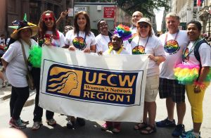 Pictured: Sandra Oxford, Minerva Villar, Vilmarie Solivan, Betty Walston, Shayanne Walston, Stuart Appelbaum (RWDSU President/UFCW Executive Vice President), Michele Kessler (OUTReach International Chairperson), John Woods (OUTReach Regional Coordinator) and Agueda Arias.